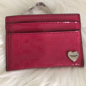 COACH Patent Leather Heart Charm Card Holder